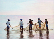 Sealife And Beaches - Men with Nets by Pauline Ross