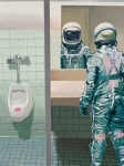 Science Fiction Acrylic Prints - Mens Room Acrylic Print by Scott Listfield
