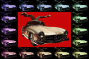 Transportation Digital Art Framed Prints - Mercedes 300SL Gullwing . Front Angle Artwork Framed Print by Wingsdomain Art and Photography