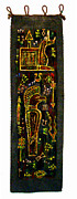 Ancient Tapestries - Textiles Framed Prints - Mesopotamian deities Framed Print by Siran Ajel