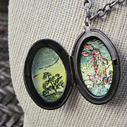 Rabbit Jewelry - Metal Locket Hand Painted With Velveteen Rabbit by Carrie Jackson