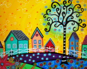 City Flowers Paintings - Mexican Town by Pristine Cartera Turkus