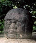 Primitive Sculpture Posters - Mexico: Olmec Head Poster by Granger