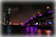 Florida Bridges Photo Prints - Miami Skyline at Night 2 Print by Amanda Vouglas