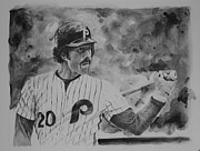 Mlb Hall Of Fame Drawings - Michael Jack by Paul Autodore