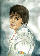Mj Painting Prints - Michael Jackson - Captain Eo Print by Nicole Wang