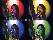 Worhol Prints - Michael Jackson Icon4 Print by Mike  Haslam