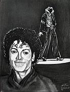 Pop Icon Drawings Posters - Michael Jackson II Poster by Toni  Thorne