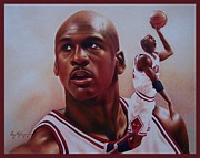 Bulls Drawings Prints - Michael Jordan Print by Cory McKee