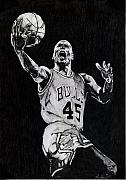 Basket Ball Framed Prints - Michael Jordan Framed Print by Hari Mohan
