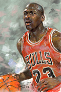 Chicago Bulls Pastels Framed Prints - Michael Jordan Framed Print by Ylli Haruni