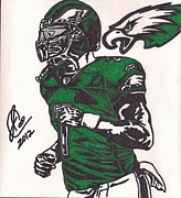 Player Drawings Posters - Micheal Vick Poster by Jeremiah Colley