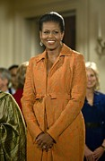 Orange Dress Prints - Michelle Obama At A Public Appearance Print by Everett