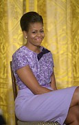 East Room Framed Prints - Michelle Obama Wearing An Anne Klein Framed Print by Everett