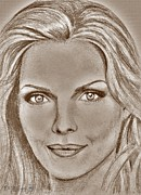 Michelle Mixed Media Framed Prints - Michelle Pfeiffer in 2010 Framed Print by J McCombie