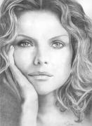 Michelle Pfeiffer Framed Prints - Michelle Pfeiffer Framed Print by Karen  Townsend