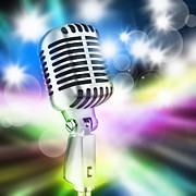 Microphone Metal Prints - Microphone On Stage Metal Print by Setsiri Silapasuwanchai