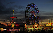 Amusement Rides Posters - Midway night Poster by David Lee Thompson