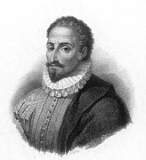 Drawing Of Miguel Framed Prints - Miguel De Cervantes, Spanish Author Framed Print by Photo Researchers