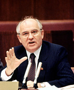 Meeting. Point Framed Prints - Mikhail Gorbachev During His Presidency Framed Print by Everett