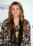 Statement Necklace Art - Miley Cyrus At Arrivals For Justin by Everett