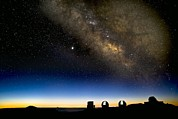 Mauna Kea Photos - Milky Way And Observatories, Hawaii by David Nunuk