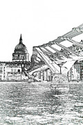 City Of Bridges Posters - Millenium Bridge and St Pauls Poster by David Pyatt