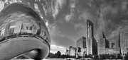Chicago Skyline Bw Metal Prints - Millennium Park in Black and White Metal Print by Twenty Two North Photography