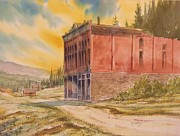 Abandoned Buildings Painting Framed Prints - Miners Union Hall Granite Ghost Town Montana Framed Print by Kevin Heaney