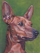 Miniature Paintings - Miniature Pinscher by Lee Ann Shepard