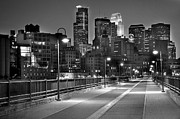 Bw Framed Prints - Minneapolis Skyline from Stone Arch Bridge Framed Print by Jon Holiday