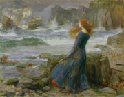 Ocean Shore Framed Prints - Miranda Framed Print by John William Waterhouse