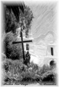 Pencil Drawing Photos - Mission San diego by Gary Brandes