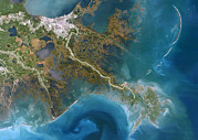 New Earth Posters - Mississippi Delta, Satellite Image Poster by Planetobserver