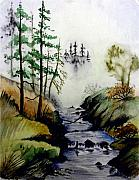 Fishing Creek Drawings Prints - Misty Creek Print by Jimmy Smith