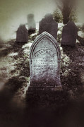 Nightmare Framed Prints - Misty Graveyard Framed Print by Jill Battaglia