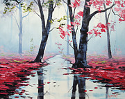 Autumn Landscape Paintings - Misty pink by Graham Gercken