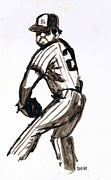 Ink Drawing Jewelry - MLB The Pitcher by Seth Weaver
