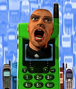 Frustrated Posters - Mobile Phone Rage Poster by Victor Habbick Visions