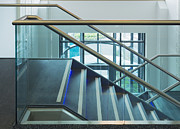 Glass Reflecting Prints - Modern Office Staircase Print by Iain Sarjeant