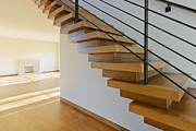Leed Certified Framed Prints - Modern Wood Staircase Framed Print by Jeremy Woodhouse