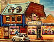 Carole Spandau Montreal Streetscene Artist Prints - Moishes Steakhouse On The Main Print by Carole Spandau