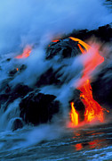 Hawai Prints - Molten Pahoehoe Lava Flowing Into The Ocean Print by G. Brad Lewis