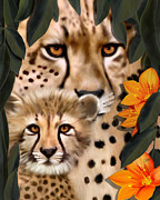 Cheetah Digital Art - Mommy And Me by Frances Guzzetta