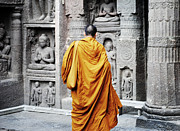 Indian Acrylic Prints - Monk At Ajanta Caves India Acrylic Print by Sumit Mehndiratta
