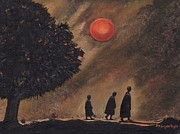Peaceful Scene Paintings - Monks by Moonlight by Belle Perez-de-Tagle
