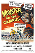 1950s Poster Art Photo Framed Prints - Monster On The Campus, Arthur Franz Framed Print by Everett