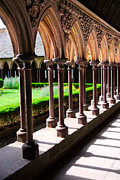 Columns Acrylic Prints - Mont Saint Michel cloister  Acrylic Print by Elena Elisseeva