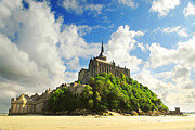 Europe Photo Framed Prints - Mont Saint Michel Framed Print by Elena Elisseeva