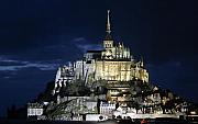 Catherdral Prints - Mont St. Michel at Night Print by Joshua Francia